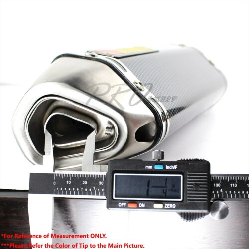 """1.5/""""-2/"""" Inlet 1-1//4/"""" Rolled Slant Carbon Look Tip Racing Muffler Exhaust System"""