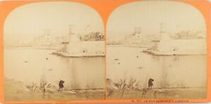 FRANCE-Marseille-Le-Fort-Saint-Jean-Photo-Stereo-Vintage-Albumine-ca-1865