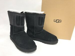 b70802fc43e Details about UGG Australia CLASSIC SHORT SPARKLE BLACK GRAPHIC BOOT  Shearling 1096472