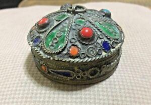 RARE-Antique-Chinese-Brass-Inlaid-Coral-Beads-Beautiful-Trinket-Box-Jewelry