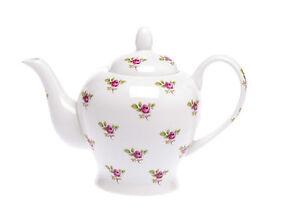 Crown-Bone-China-16-Fl-OZ-2-CUP-Teapot-DOT-ROSE-pink-flower-Kirsty-Jayne-China