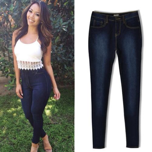 Damen Jeanshose Jeans High waist Skinny Denim Hose Stretch Treggings Jeggings