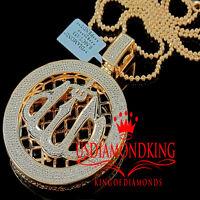 Allah God Medallion Style Genuine Diamond Pendant Charm 10k Rose Gold Finish