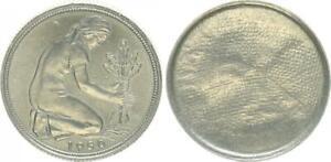 50 Pfennig Lack Coinage Through Mitgeprägtes Fabric on The Wertseite Prfr