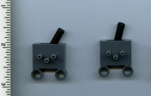 LEGO x 2 Dark Bluish Gray Pneumatic Switch with Pin Holes NEW Technic