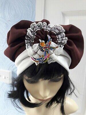 1960s Di Ispirazione Vintage Tulle Turbante Cloche Stile Cappello Taglia Unica 57 Cm Con Spilla- Possedere Sapori Cinesi
