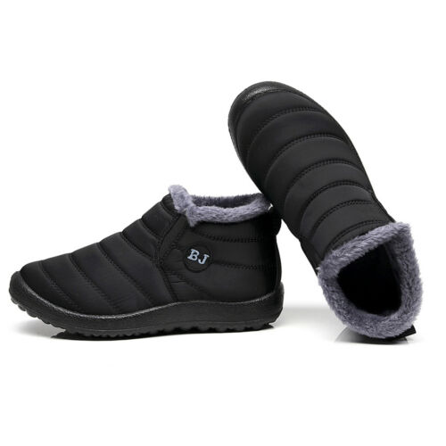 Mens Winter Snow Ankle Boots Fur Lined Slip On Waterproof Outdoor Walking Shoes