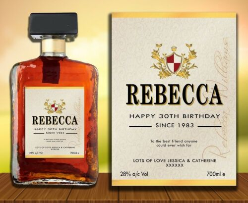 PERSONALISED AMERETTO LIQUORE SPIRIT NAME BOTTLE LABEL BIRTHDAY ANY OCCASION