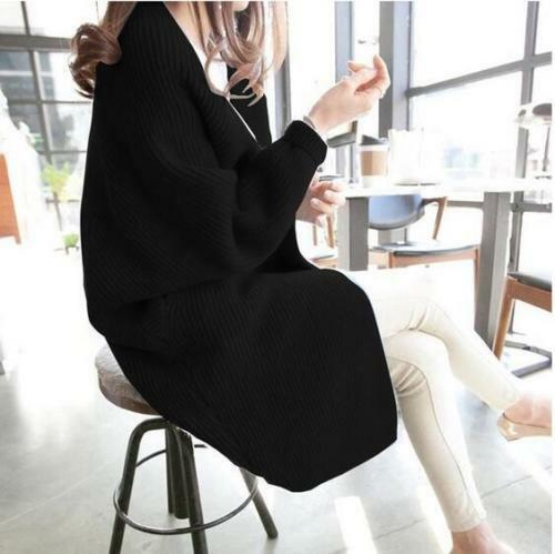 New Women Loose Knitted Knitted Knitted Sweater Batwing Sleeve Tops Cardigan Outwear Casual Coat 0f73a8