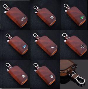 Leather-Car-logo-Keyfob-KeyChain-Key-Case-Wallet-Bag-Remote-Control-Brown-Hot