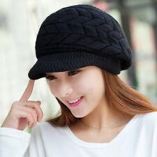 New Women Girl Wool Snow Ski Caps Winter Warm Beanie Crochet Knit Hat With Visor