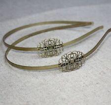 Antique Bronze Headband Hair Band  with filigree - 4 pcs