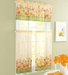 Yellow Green Beige COUNTRY SUNFLOWER Kitchen Curtains VALANCE AND ...