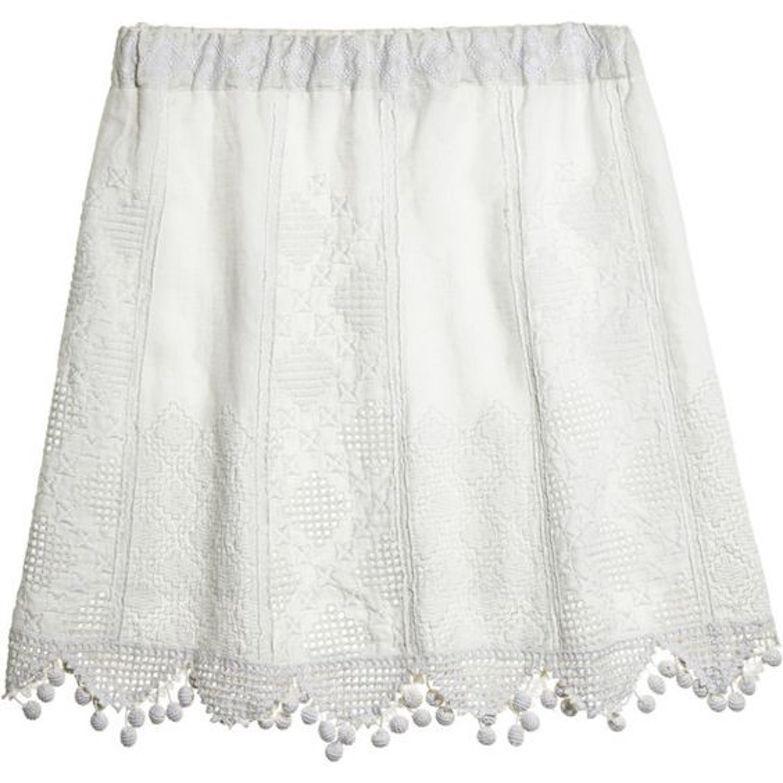 CALYPSO St. Barth Metai Lace 100% Linen Ivory Short Skirt Sz XS NWT