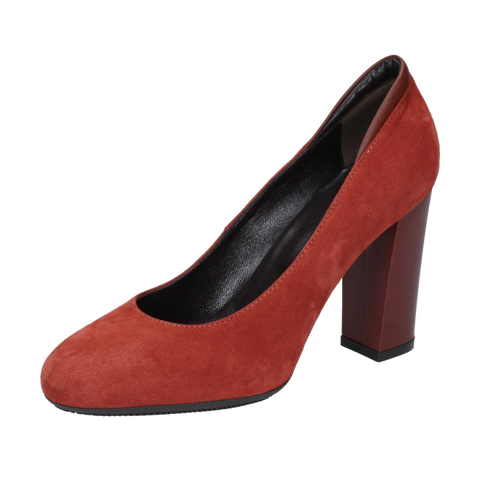 Wohommes chaussures HOGAN 5,5 (EU 35,5) pumps suede marron rouge AZ126-35,5