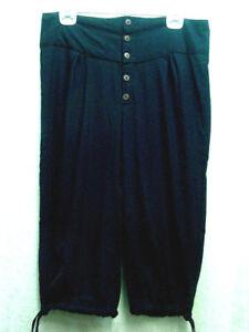 PIrate-Renaissance-Ren-Faire-Pants-Breeches-Knickers-Button-Front-Black-Unisex
