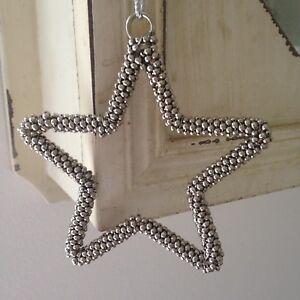 Shabby-Chic-Plata-Metal-Colgante-Estrella-Decoracion-del-hogar-con-pequenas-campanas-de-plata