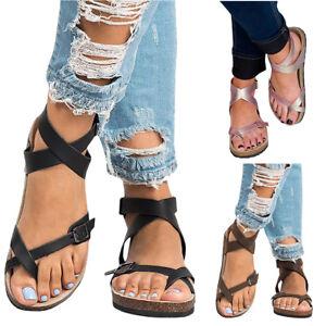 99ff90300c1b Image is loading Fashion-Women-Summer-Gladiator-Roman-Sandals-Casual-Buckle-