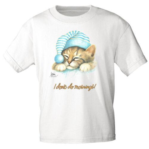 Marken T-Shirt S M L Xl Xxl Print Katzen Motiv I don´t do mornings KA168 weiß