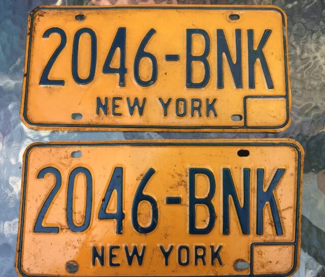 Vintage License Plate Set NEW YORK NY 1970s Orange 2046-BNK