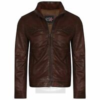 New Men's Handmade Brown Soft Genuine Leather Biker Style Fashion Jacket (S-4XL)