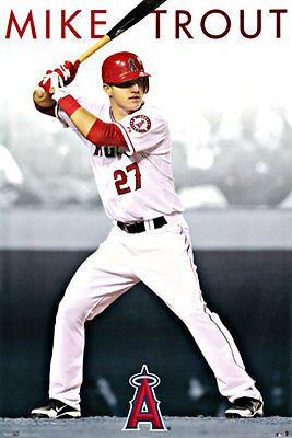 "Vip Auto Outlet >> MIKE TROUT POSTER LOS ANGELES (LA) ANGELS of ANAHEIM LARGE 24"" X 36"" 
