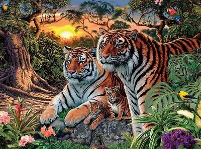 3D Lenticular Art Picture Tigers & cubs in forest 39 x 29 cm approx New