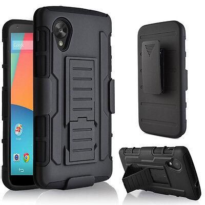 Black Hybrid Impact Case Rubber Stand Cover Holster For Google LG Nexus 5 D820