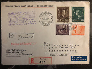 1946 Lichtenstein Amsterdam To South Africa First Flight Abdeckung Ffc #215 216