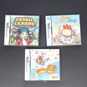 Nintendo-DS-Game-Lot-of-3-Fossil-League-Super-ScribbleNauts-Ballistic-Beans-VGC