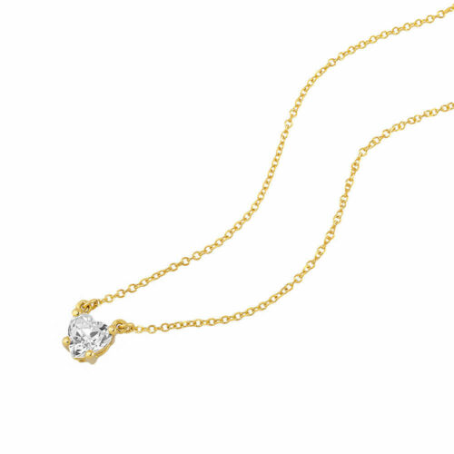 Anhänger mit Kette Gold 585 Gelbgold 14K HERZ Stein Damen Collier Herzkette