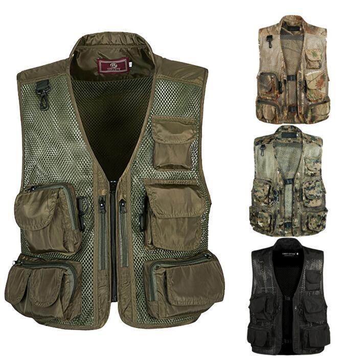 Herren Camouflage Outdoorjacke Multi-Pocket Reisende Angeln Fotografie Weste