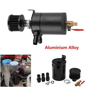 2-Port-Aluminum-Oil-Catch-Can-Tank-Reservoir-w-Drain-Valve-amp-Breather-Filter-Black