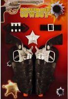 Twinset Cowboy Gun Holster Fancy Dress Toy Ranger Bandit Sheriff Kids Wild West