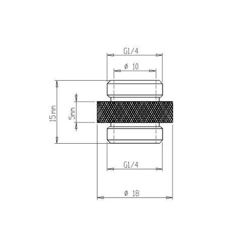 "Matte Black Finish XSPC G1//4/"" 5mm Male to Male Fitting"