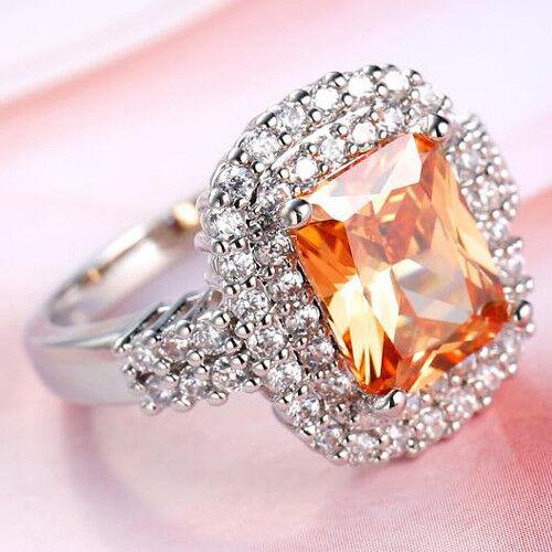 Magnifique Engagement Naturelle Morganite Blanc Zircon Gemstone Silver Ring SZ 6-10