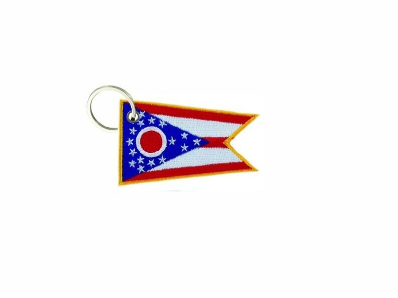 Porte cle cle cle cles clef brode patch ecusson badge drapeau ohio usa americain 5355c1