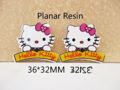 5 X 36mm Corte Láser de Hello Kitty Piso Nuevo Placa De Resina Diademas Moños Tarjeta Haciendo