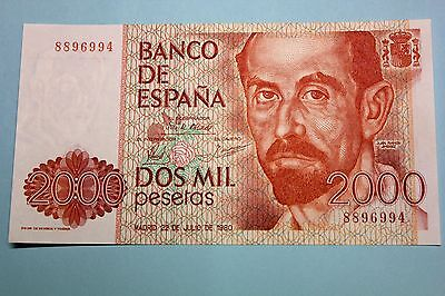 NO LETTER 6RW 12MAR SPAIN 2000 PESETAS 1980  P 159 UNC CONDITION