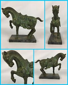 Bronze-HORSE-Metal-Statue-Green-Patina-Heavy-Beautiful-9-Tall