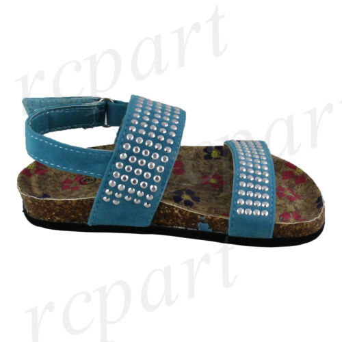 New girl/'s kids sandals blue studs t strap summer casual open toe soft foot bed