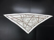Auth HERMES Triangle Scarf 100%Silk Bolduc Off White Brown Gray Good Box 37683 B
