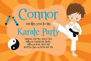 Image Is Loading 10 Personalised Karate Party Birthday Invitations Judo Martial