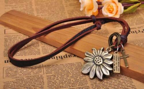 N220 Brown Cute Sunflower Pendant Surfer Leather Cord Long Necklace Men/'s NEW