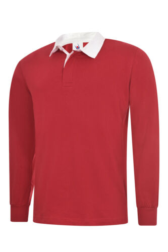 Men/'s Long Full Sleeve Classic Rugby Shirt Plain Cotton Casual Sports Work TOP