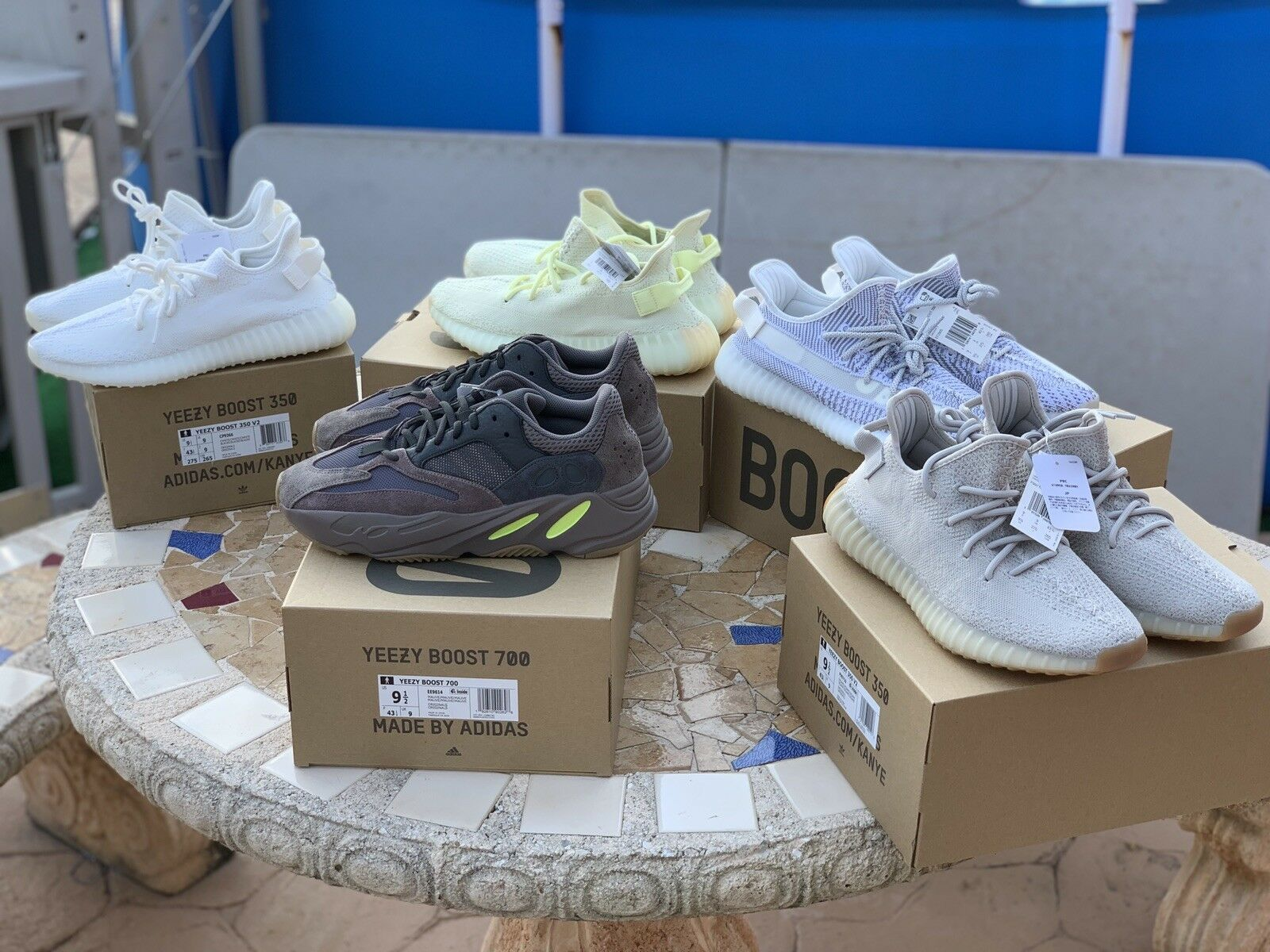 Lot Of 5 Pairs Of Adidas Yeezy Size 9.5