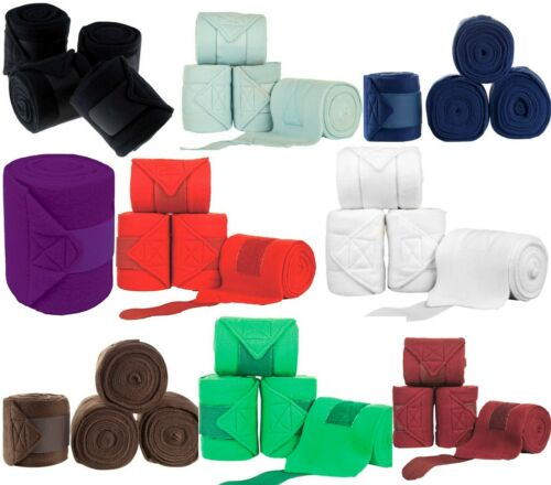 Polo Exercise Fleece Bandages Dressage Stable Horse Leg Wraps SET of 4 9 Colours