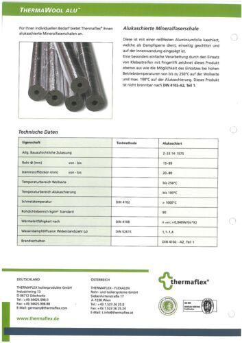 1 m Rohrisolierung 15//30 Therma Wool Alu Mineralfaserschale zum Sonderpreis