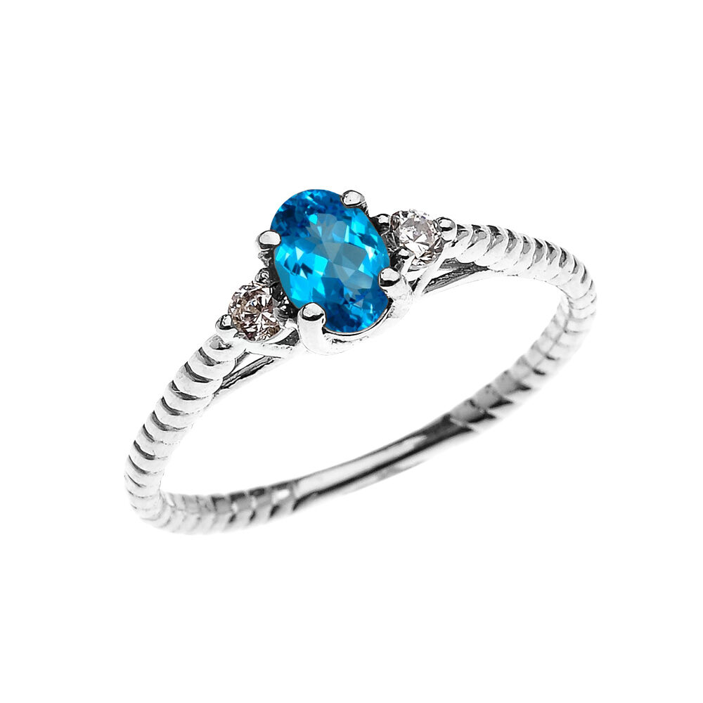 White gold Dainty Solitaire blueeee Topaz & White Topaz Promise Rope Design Ring