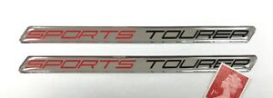2-x-SPORTS-TOURER-Large-Stickers-Super-Shiny-Domed-Finish-Red-amp-Chrome-on-Black